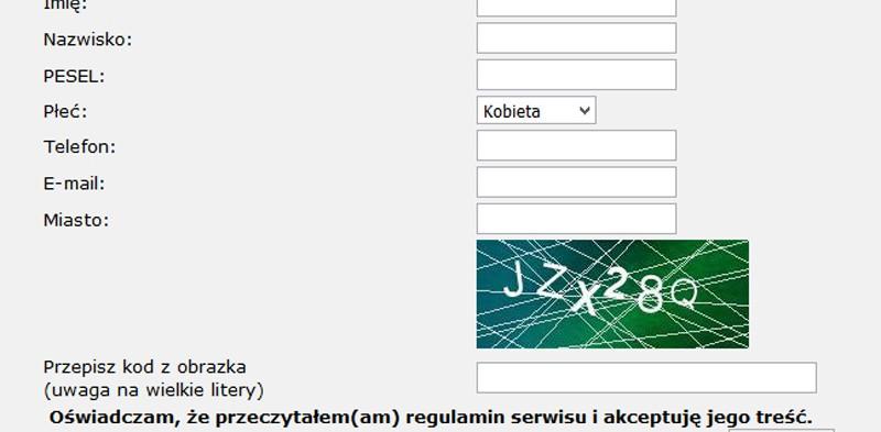System rejestracji użytkowników online na imprezy